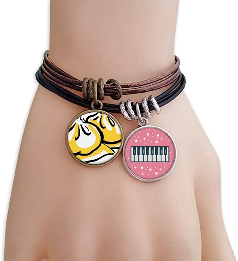 cold master DIY lab China Chinese Dish Delicious Pattern Bracelet Rope Wristband Piano Key Music Charm