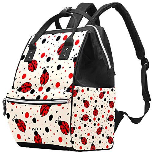 TIZOTAX Little Ladybug and Ploka Dots Sac à langer grande capacité Sac à dos de voyage pour mamans et papas