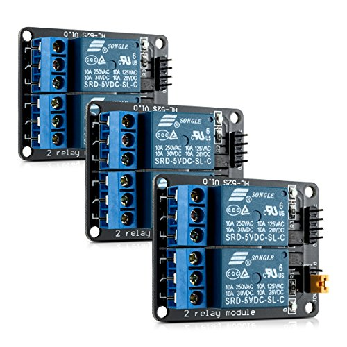 kwmobile 2 Channel Relay Module - 5V Relay Board for Arduino Raspberry Pi with Optocoupler - Pack of 3