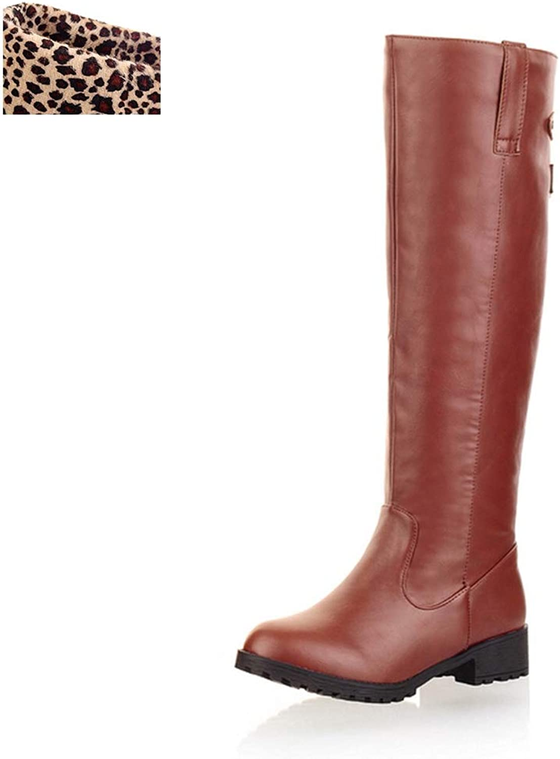 T-JULY Women's Add Fur Warm Knee-High Autumn Winter Riding Boots Fashion Comfortable shoes Large Sizes 34-44