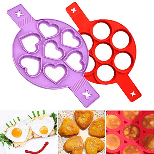7 Holes Silicone molds Omelette Egg Ring Silicone Omelette Heart Shape Omelettes Nonstick Silicone Egg Ring Pancake Mold Ring Silicone Egg Silicone Round Egg Rings Reusable for Egg Cupcake 2 Pieces
