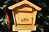 Briefkasten, Holzbriefkasten mit Holz - Deko HBK-SD-HELLBRAUN aus Holz hellbraun braun XXL Briefkästen Postkasten Spitzdach