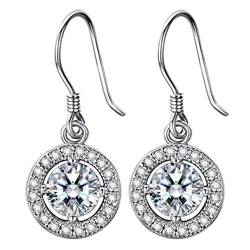 Lydreewam Damen Ohrhänger Silber 925 Hängende Tropfen Ohrringe mit 3A 6mm Zirkonia