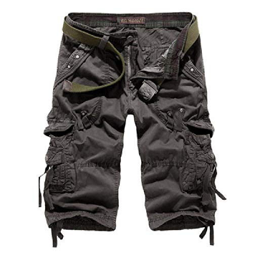 U/A Pantalones de 7 puntos de verano sueltos casuales pantalones cortos de trabajo grandes multibolsillos de 7 puntos pantalones Gris 1 50