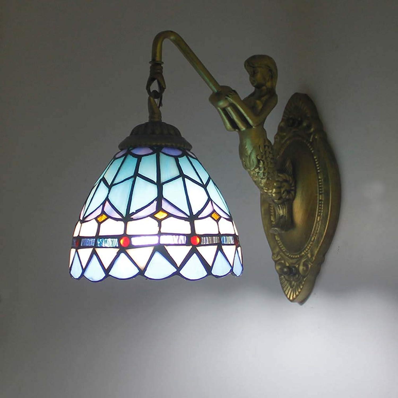 YALANDA Wandleuchte, Schlafzimmerleuchten im mediterranen Stil, handgefertigte Wandleuchten aus Glas für Cafe Bar Living Room Flur, E27,1light