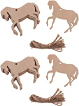 Baosity 20 Pieces Natural Wooden Horse Cutouts Wood Animal Shapes with Twine for Hanging Decoration DIY Handicrafts