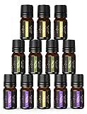 Oli Essenziali Puri Anjou Set di 12 Aromaterapia 100% Puri 5mL 4 Pezzi x Lavanda, 4 Pezzi x Albero del Té, 4 Pezzi x Menta piperita