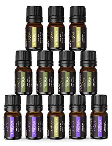 Ätherische Öle für diffuser ANJOU Ätherisches Öle Set 12 x 5 ml 100% Pur Lavendel, Teebaum, Pfefferminz für Aroma Diffusor Luftbefeuchter Massage Aromatherapie Haut-und Haarpflege