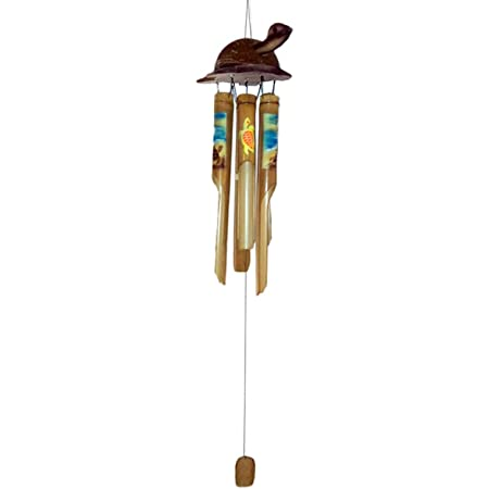 Amazon Com Chesapeake Bay Painted Bamboo Sea Turtle Wind Chime 20190 40 Inches Garden Outdoor
