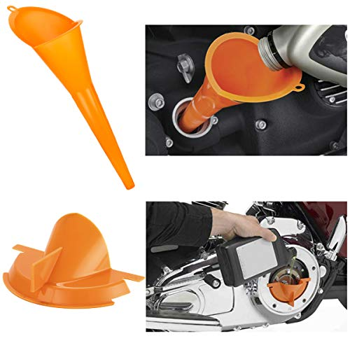 Crankcase Fill Funnel Primary Case Oil Fill Oil Funnel Set for Harley 2 Pcs (Orange)
