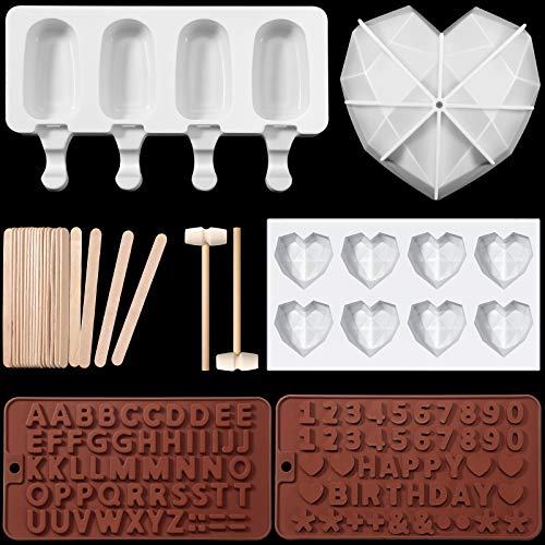 7 Pieces Valentine's Day Chocolate Heart Shape Mold, Diamond Heart Shaped Mousse Cake Mold, Silicone Baking Letter Mold, Wooden Hammers, Popsicle Mold with 20 Wooden Stickers for Mousse Chocolate