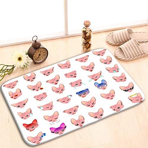 NA Felpudo Divertido Entrada de Piso Lavable Alfombra Interior al Aire Libre Felpudo Tela no Tejida Sphynx Cat Emoji Emoticon Expresión