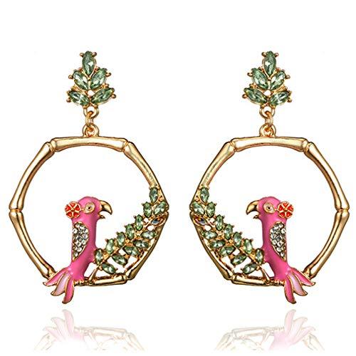 Ai.Moichien Pendientes De Mujer Cuelgan Gota De Pájaro Hoja De Diamantes De Imitación Chapados En Oro Boho Elegantes Regalos De Cumpleaños