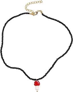 QIQILUXI Women Beaded Necklace Mushroom Pendant Bead Necklace Fashion Neck Jewelry (Black)