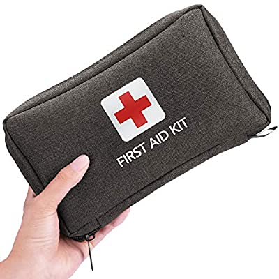Small First Aid Kit 170 Piece - Waterproof Compact Mini Emergency Trauma Kit for Home, Travel, Camping, Hiking, Vehicle, Workplace, Backpacking, Outdoors (Black)