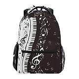 ALARGE Mochila abstracta con notas musicales para piano, viajes, escuela, colegio, libros, bolsa de hombro, bolsa para camping, senderismo, portátil