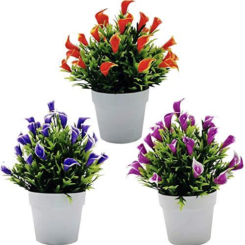 Fycooler Flores de Lirio de Cala Artificial en Maceta - 3PCS Lirios de Cala Plantas de Vegetación Artificial - Lirio de Cala Artificial Decoración del Hogar Boda,Oficina,Arreglos Florales de Bricolaje