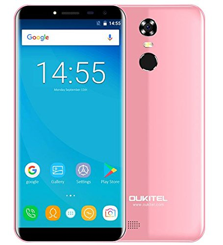 OUKITEL C8-5,5 Zoll (18: 9 Verhältnis Vollbild) Android 7.0 3G Smartphone, 3000mAh Akku, 1.3GHz Quad Core 2GB RAM 16GB ROM, 5MP + 13MP Kamera, Fingerabdruck - Rosa
