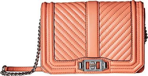 Rebecca Minkoff Women's Chevron Quilted Small Love Crossbody Pale Coral One Size