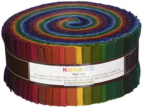 Robert Kaufman Fabrics RU-232-41 Kona Cotton Solids New Dark Roll Up 41 2.5-inch Strips Jelly Roll,Assorted