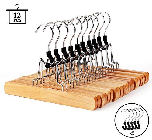 ilauke Hosenspanner Hosenbügel 12 Stück Kleiderbügel aus Holz mit 5 Stück Haken als Ersatzteil, um 360 Grad drehbar, für Hosen Röcke Schal, Natur