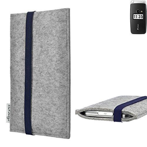 flat.design Handy Hülle Coimbra für Doro Primo 413 - Schutz Hülle Tasche Filz Made in Germany hellgrau blau