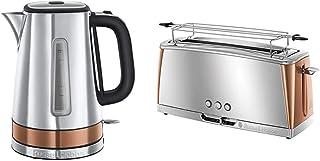 Russell Hobbs Set Petit Déjeuner Bouilloire et Grille-Pain Toaster Baguette Luna Cuivre - 24280-70 et 24310-56