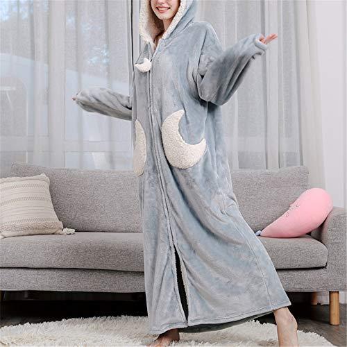 Damen Morgenmantel Kurz Bademantel Kimono Baumwolle Saunamantel Robe Mit V-Ausschnitt Sommer,Verdickung aus korallenrotem Samt und großformatige Flanell-Kapuze A-3 XL mit langem Schnitt