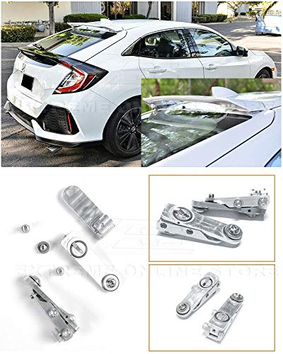 Replacement for 2016-Present Honda Civic Hatchback Models | EOS Anodized Silver Rear Roof Wing Spoiler Riser Extender Kit