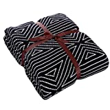 """100% Cotton Knitted Throw Blanket, Reversible Two-Sided Blanket, Perfect for Coach/Sofa/Bed, 51""""x71"""""""