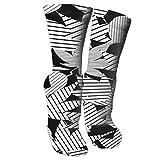 zhouyongz Calcetines de compresión graduados hasta la Rodilla con Rayas Blancas y Negras para Mujeres y Hombres - Los Mejores Calcetines de enfermería, Viajes y Vuelo - Running & Fit