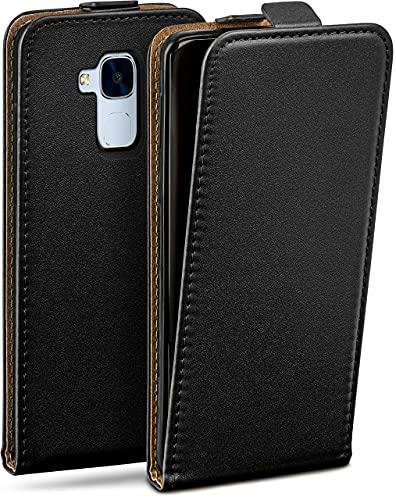 moex Flip Hülle für Huawei Honor 5C Hülle klappbar, 360 Grad R&um Komplett-Schutz, Klapphülle aus Vegan Leder, Handytasche mit vertikaler Klappe, magnetisch - Schwarz