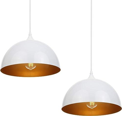 Suspension Luminaire Industrielle 2 pack Métal Retro Suspensions Lampe, plafonnier vintage (blanche)