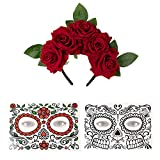 Day of The Dead Flower Rose Crown Headband with 2 Face Tattoos for Halloween Party, Mexican Dia de Los Muertos Costume Accessories
