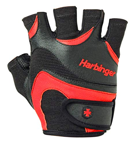 Harbinger FlexFit Non-Wristwrap Weightlifting Gloves with Flexible Cushioned Leather Palm (Pair), Red/Black, Large