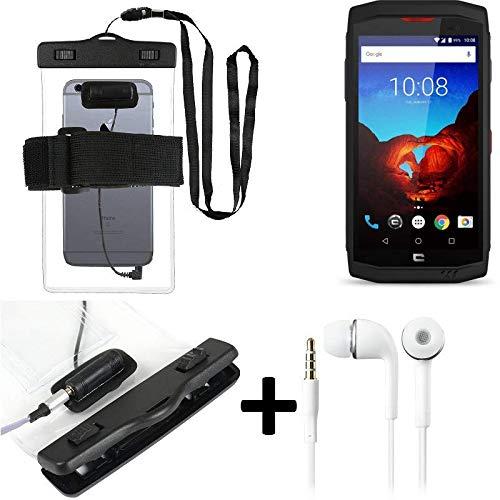 K-S-Trade® Kompatibel Mit Crosscall Trekker X3 wasserdichte Hülle Mit Kopfhörereinlass + Headset, Transparent Jogging Armband Wasserfeste Handyhülle Beach Bag Outdoor Beutel Schutzhülle