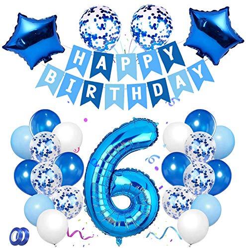 6 Anni Compleanno Decorazione, Blu Set di Palloncini Numero 6 Buon Compleanno Banner Palloncini in Lattice con Coriandoli in Lamina per Bambino Bambina