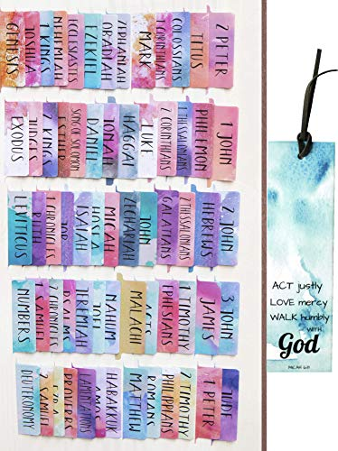 Watercolor Laminated Bible Tabs (Large Print, Easy to Read), Personalized Bible Journaling Supplies, 100 Bible Index Tabs in Total, 66 Tabs for Old and New Testament, Additional 34 Blank Tabs