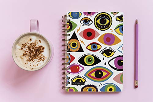 (No. 041) Notebook for woman writing about hobbies. The cover of notebook is nicely decorated with impressive eye shapes. || PAPERBACK || 200 PAGES THICK || 6x9 INCH || (English Edition)