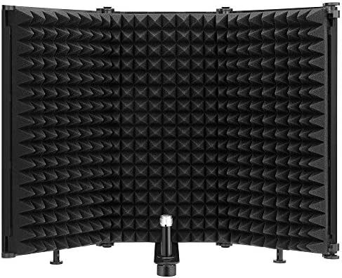 Moukey Microphone Isolation Shield Foldable With 3 8 and 5 8 Mic Threaded Mount Mic Sound Absorbing product image