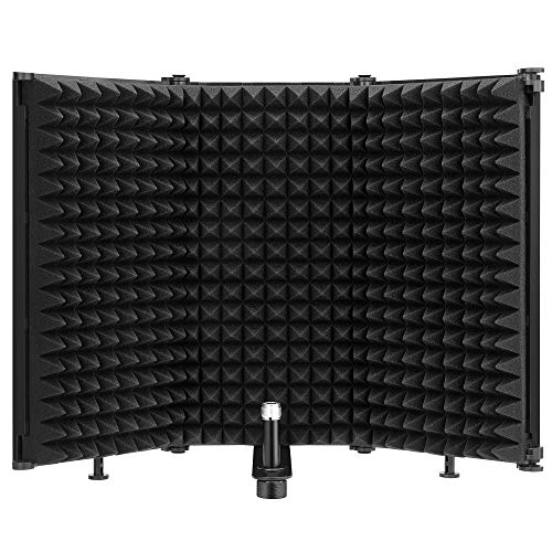 """Moukey Sound Shield Schermo isolante per microfono Pieghevole con attacco filettato per microfono da 3/8""""e 5/8"""" Schiuma assorbente ad alta densità a tre pagine - MPFUBK3"""