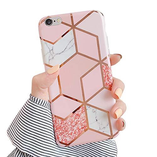 MoreChioce kompatibel mit iPhone 6S Hülle,iPhone 6 Hülle Marmor,Kreativ Geometrie Bling Sparkle Matt Weich Silikon Handyhülle Ultra Dünn Transparent Rundumschutz Crystal Bumper,Gold Marmor