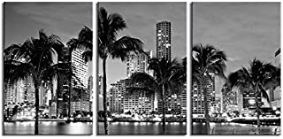 Large Art Canvas Print - Miami Beach Skyline Night Cityscape, Miami City Canvas Print, Miami Night Art Canvas Print, Unsleep City, Ny City - 20x30 Inch Each Panel- 60x30 Inch Total