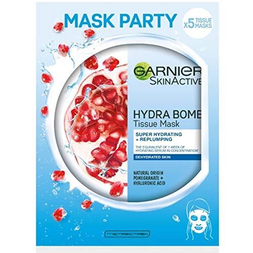 Garnier Skin Active - Mask tissu Mascarilla de tejido Revitalizante con Ácido hialurónico y granada antioxidante para pieles deshidratadas - 5 unidades