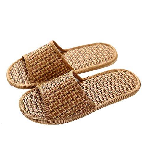 Zomerhuis slippers, indoor vloer slippers linnen antislip deodorant schoenen regen sandalen zwembad schoenen,Brown,EU39/40 UK6/6.5