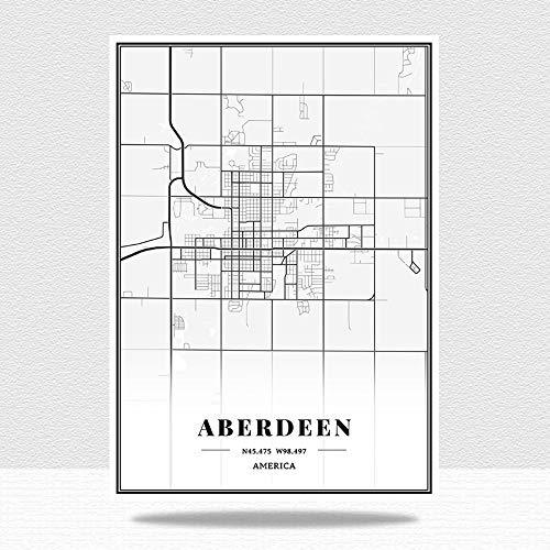 Cuadro En Lienzo,América Aberdeen City Maps Wall Art Picture, Blanco Y Negro...