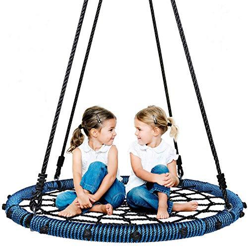 KOMI Juego de columpio de cuerda redonda para niños, 199.6 kg, resistente, giratorio de 360°, cuerda ajustable para colgar para patio trasero o sala de juegos (azul)