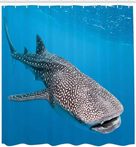 Meerestiere Duschvorhang Walhai Schwimmen Raubtiere Jäger Klares Wasser unter dem Meer Bilddruck Badezimmer Dekor-180cmX240cm