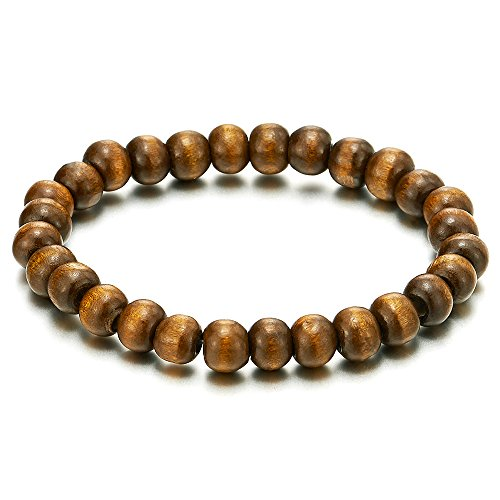 COOLSTEELANDBEYOND Classic Mens Womens Brown Wood Beads Bracelet, 8mm Tibetan Beads Prayer Mala, Stretchable
