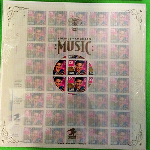 Elvis Presley Sheet of 40 29-cent Stamps and Saver Sleeve, Legends of American Music Commemorative Edition, 1993